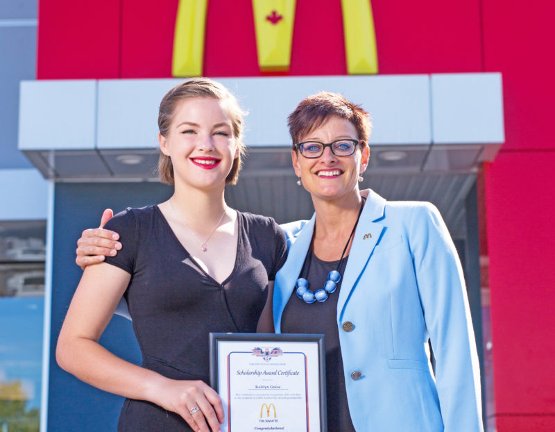 Kaitlyn Guise was the recipient of the 2016 McDonald's Scholarship Award, seen here with Angela Seymour, McDonald's Community Relations Representative.